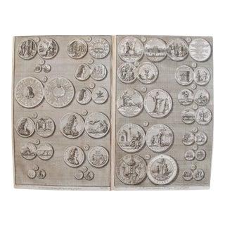 Original 1745 British Engravings, Medals of King William III - A Pair