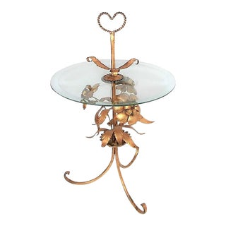 Italian Tole Glass Top Table