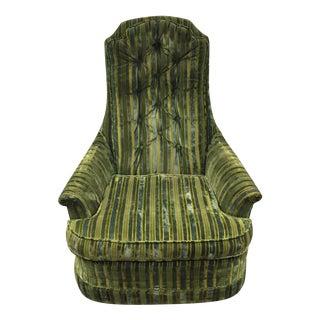 Mid-Century Striped Velvet Armchair
