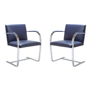 Mies Van Der Rohe for Knoll Brno Flat-Bar Chairs in Navy Leather, Pair