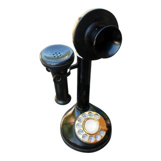 Antique Black Bakelite & Brass Telephone