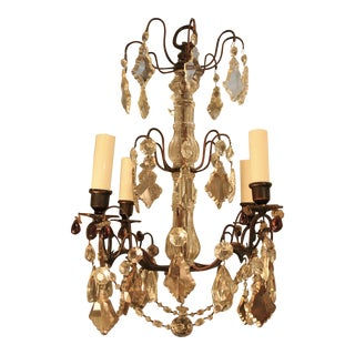 Vintage French Four-Lite Bronze & Crystal Chandelier