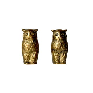 Iconic Vintage Solid Brass Owl Figurines - A Pair