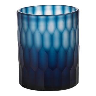 Blue Round Cut Glass Vase Candle Holder