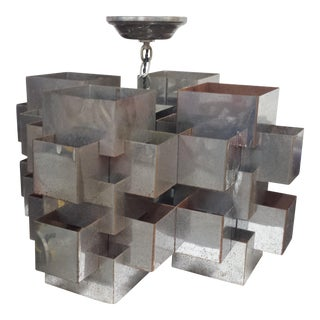 Curtis Jere Chrome Cubist Chandelier