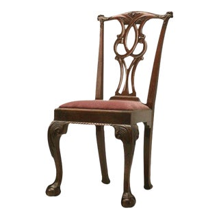 18th Century Irish Chippendale Hand-Carved Side Chair