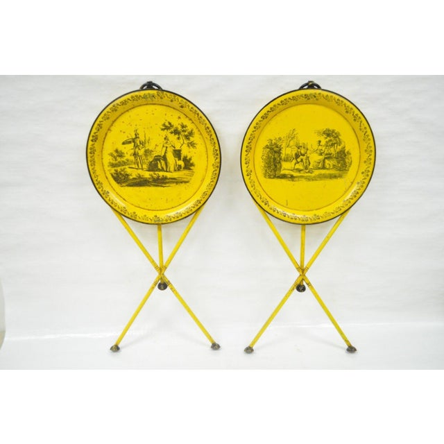 Pair of Vintage Italian Neoclassical Tole Metal Folding Side Tables Yellow Courting - Image 3 of 11