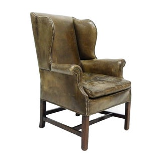 Distressed Leather 19th C. Wingback Chair