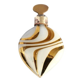 German Gold & Frosted Swirled Glass Vintage Lay Down Perfumer