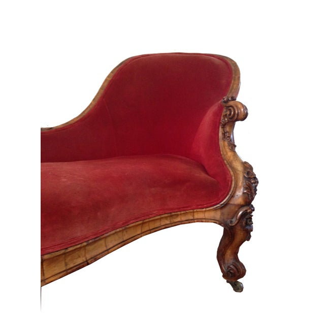Antique Red Velvet Chaise Lounge Chairish