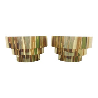 Vintage Brass Three Band Sconces - A Pair