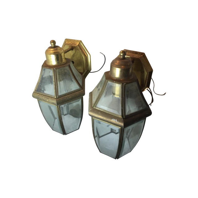 Image of Architectural Outdoor Lanterns - Pair
