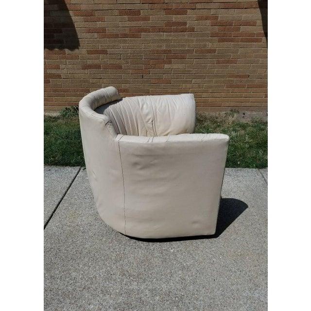 John Saladino for Baker Leather Swivel Lounge Chair - Image 3 of 11