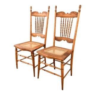 Antique Eastlake Victorian Wood Dining Chairs - A Pair
