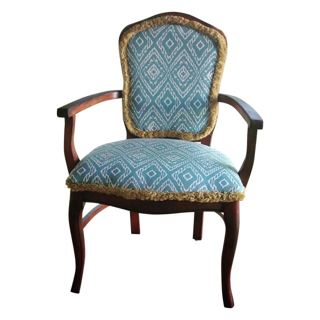 Turquoise Ikat Accent Chair - Image 1 of 4