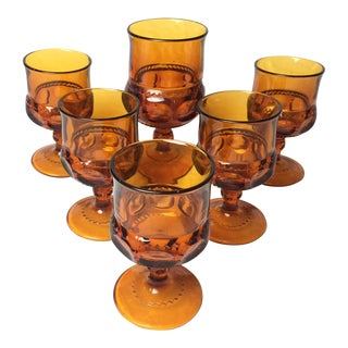 1960s Amber Glass Cups - Set of 6