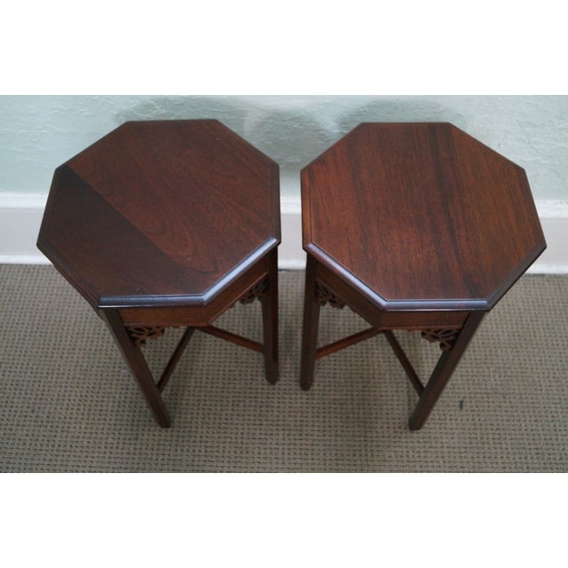 Madison Square Mahogany Chippendale Tables - Pair - Image 2 of 10