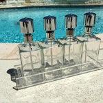 Image of Vintage Chrome Pump Decanter Set & Lucite Tray