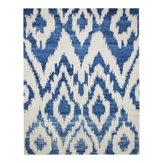 """Hand Knotted Blue & White Ikat Rug by Aara Rugs Inc. - 9'10"""" X 13'14"""""""