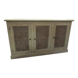 Light Gray/Green Washed Cane Doors Sideboard