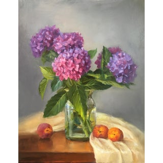 """Hydrangeas and Peaches"" Original Oil Painting."