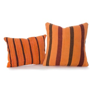 Moroccan Woven Wool Striped Pillows - A Pair