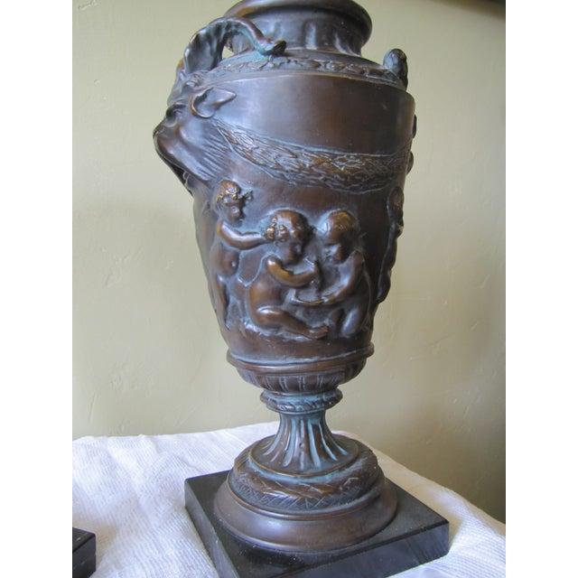Vintage Bronze Urns - A Pair - Image 5 of 10