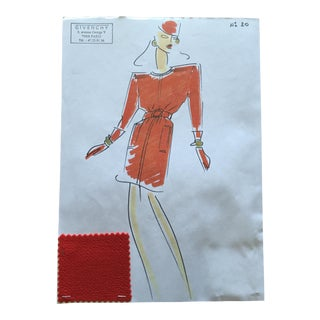 Givenchy Red Day Dress Croquis Fashion Sketch
