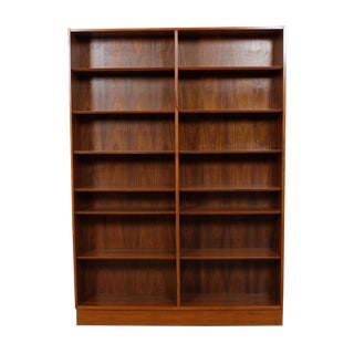 Danish Modern Double Bookcase with Adjustable Shelves in Walnut