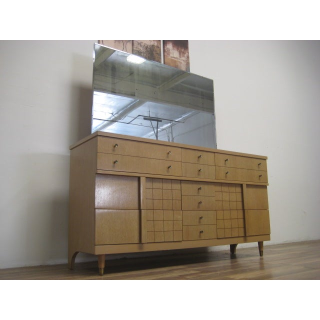 Mid-Century Light Wood Dresser with Mirror - Image 6 of 8