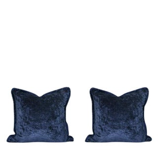 Navy Blue Ribbed Velvet Pillows - a Pair