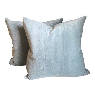 Schumacher Spa Blue Linen Velvet Pillows - a Pair