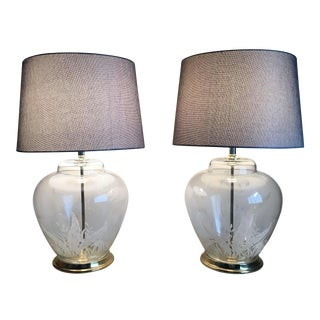 Vintage Fern Glass Lamps - A Pair