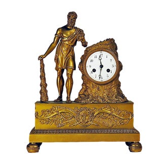 Empire Period Gilt Bronze Clock Depicting Hercules