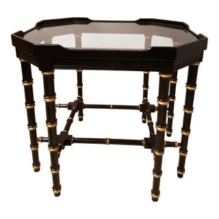 Chinoiserie Style Ebonized & Gold Faux Bamboo Turned Glass Top Cocktail Table