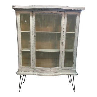Antique Serpentine China Cabinet on Hairpin Legs