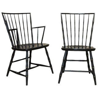 Pair of Black Lacquer and Faux Bamboo Windsor Chairs by Nichols and Stone