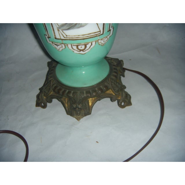 Neoclassical Teal Porcelain & Brass Lamp - Image 8 of 11