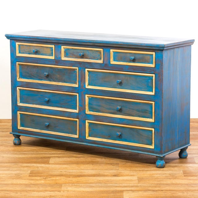 Reclaimed Solid Wood Distressed Blue Chest of Drawers/Dresser - Image 4 of 8