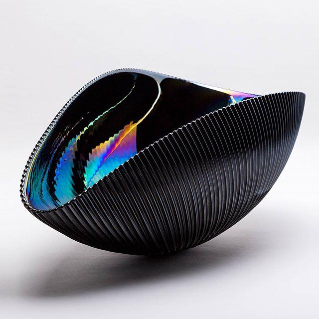Murano Bowl in Matte Black with Iridescent Colors - Image 2 of 7