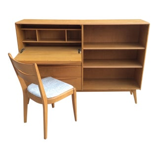 Heywood Wakefield Drop Down Desk and Bookshelf With Chair