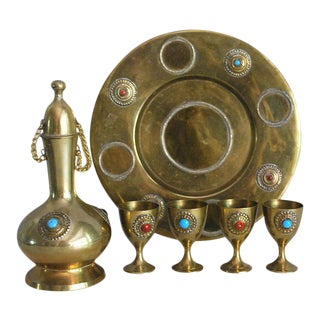 Middle Eastern Brass Drink Set - Set of 6