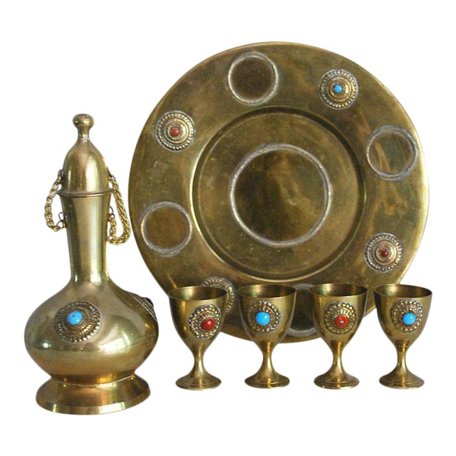 Middle Eastern Brass Drink Set - Set of 6 - Image 1 of 6