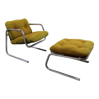 Mid-Century Cantilever Sling Chair & Ottoman/Chair