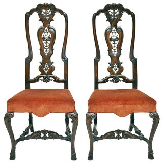Hand-Carved Slat Back Chairs - A Pair