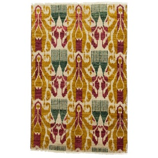 """Ikat Hand Knotted Area Rug - 4' X 6'2"""""""