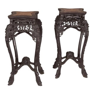 Pair of Carved Ebonized Hardwood Chinese Export Stands with Marble Insets