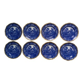 Antique Copeland Spode Blue Tower Gilt Rimmed Salad Plates - Set of 8