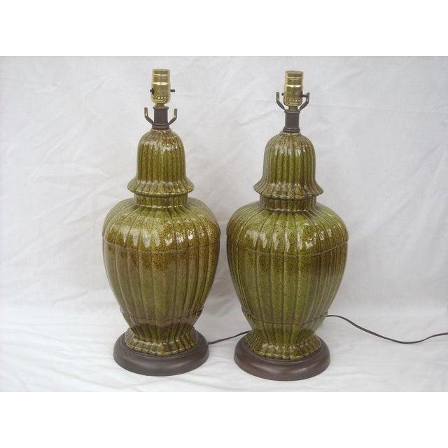 Hollywood Regency Ginger Jar Green Lamps - Pair - Image 2 of 8