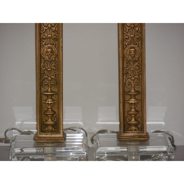 Antique Bronze Ornate Table Lamps - Pair - Image 10 of 11